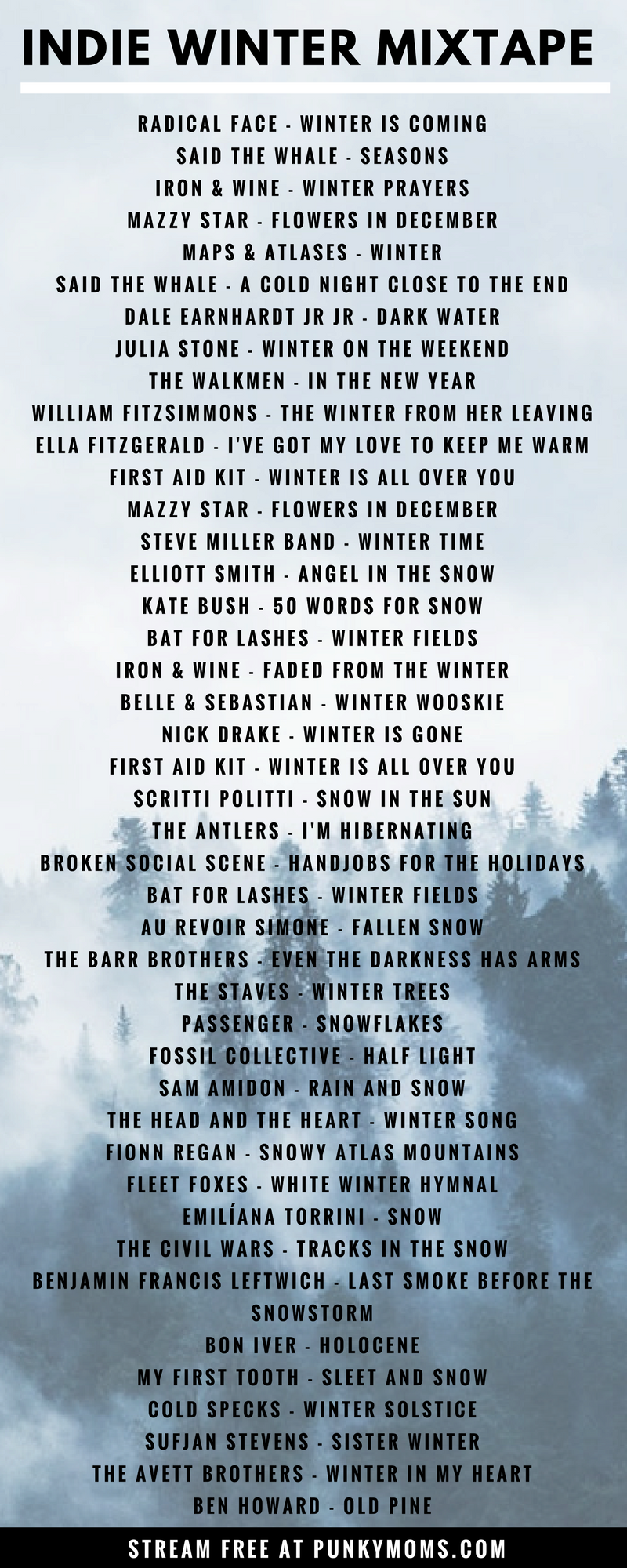 When the leaves turn brown and the skies grey, listen to our 2 hour Spotify playlist of Indie Winter songs. Not one song is about Christmas. Enjoy!
