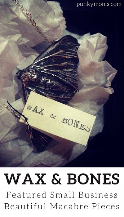 Beautiful Macabre Jewlery frpom Wax and Bones, our featured small business independent shop. We love showcasing women in business!