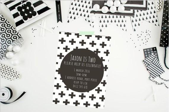 monochrome party invitations