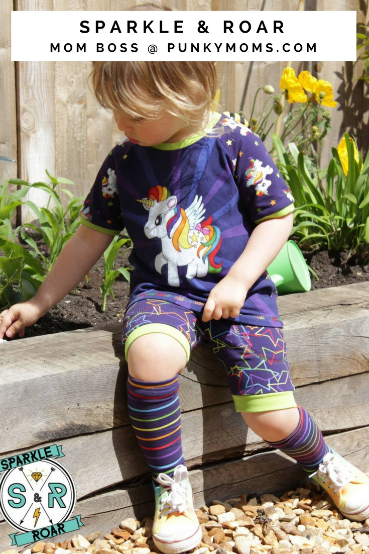 Sparkle & Roar is an alternative cool kids clothing line based in the UK. They also sell their own fabric in some amazing and colorful designs.