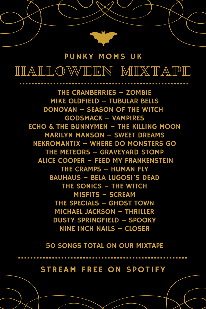 A Halloween Music Playlist! Perfect for your Halloween Party. This playlist is put together by our Parenting Facebook Group, PMUK and features 50 Spooky Songs to stream free on Spotify now.