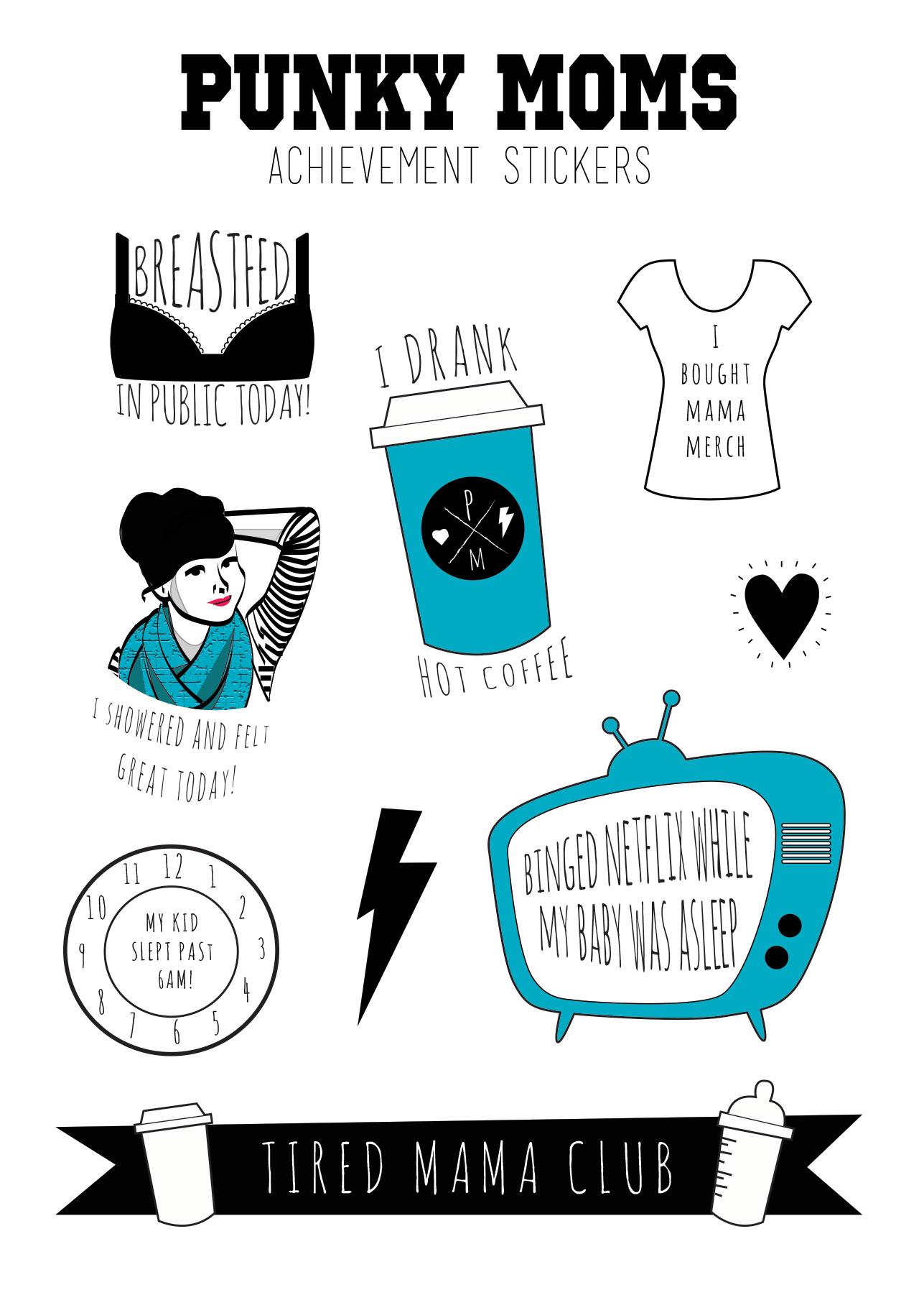 Team No Sleep - Tired Mama Club Stickers - Punky Moms Achievement Stickers