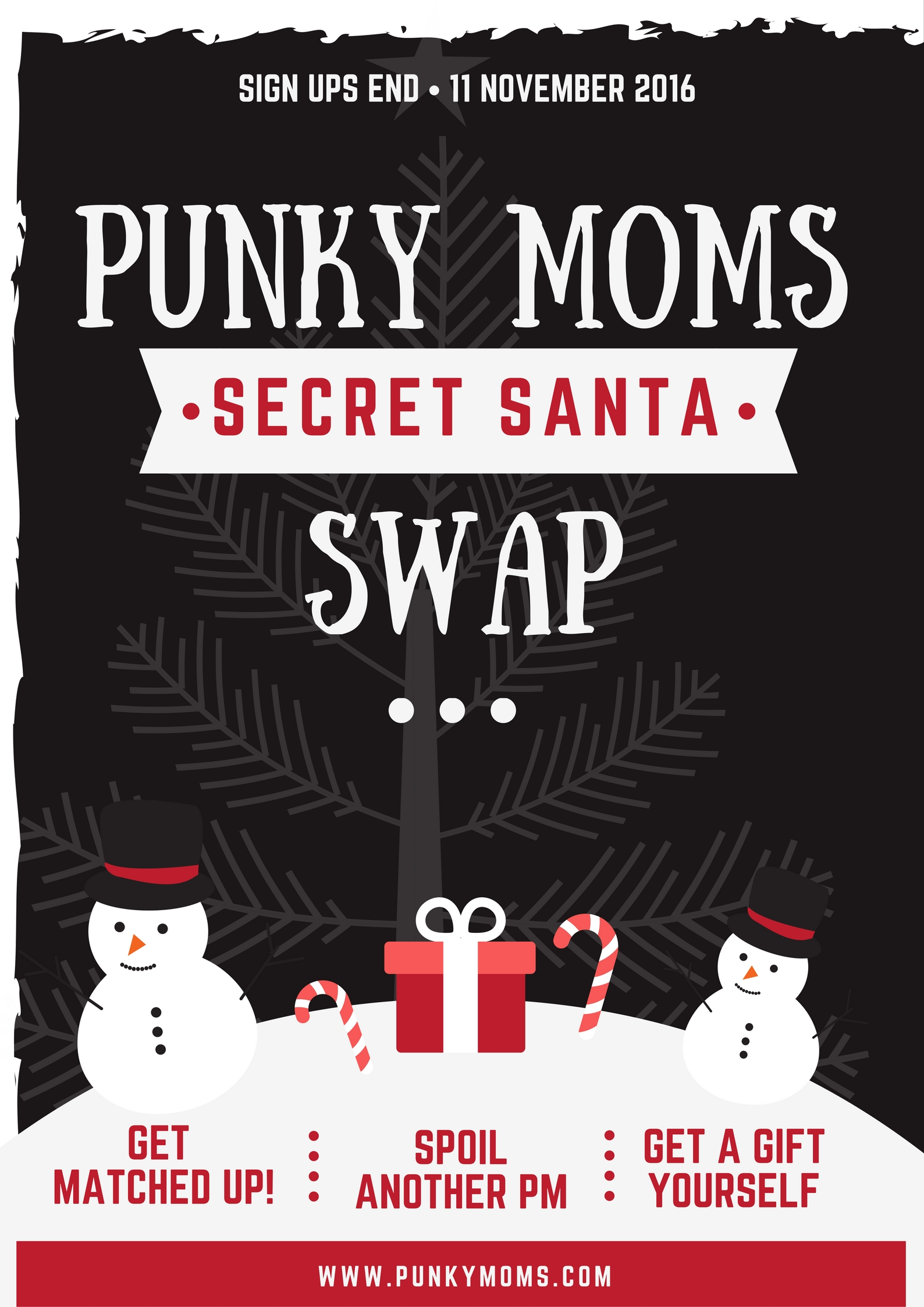 The Punky Moms Secret Santa Holiday Swap is open! Much like the Halloween swap, please fill out the google forms and pay your entry to participate.